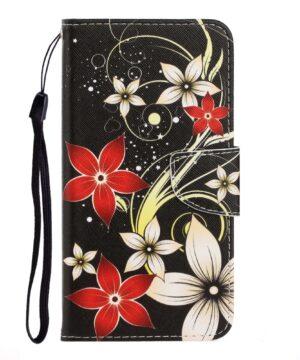 Калъф / book type / Xiaomi Redmi 9A - черен с цветя