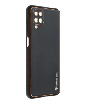 Силиконов гръб с кожа Leather Case Samsung Galaxy A12 - черен