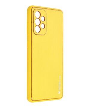 Силиконов гръб с кожа Leather Case Samsung Galaxy A72 / A72 5G - жълт