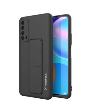Силиконов гръб Wosinsky Kickstand Case Huawei P Smart 2021 - черен