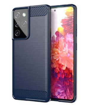 Силиконов гръб Carbon Samsung Galaxy S21 Ultra - син