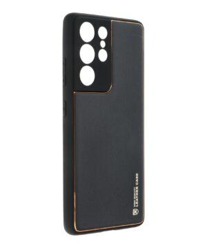 Силиконов гръб с кожа Leather Case Samsung Galaxy S21 Ultra - черен