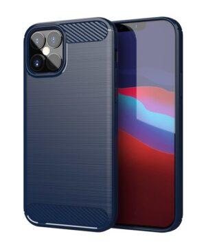 Силиконов калъф гръб Carbon Case iPhone 12 Mini - син