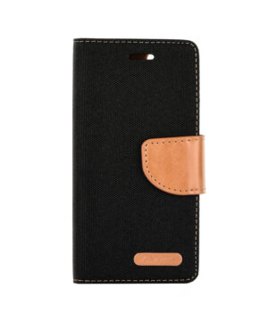 Кожен калъф тефтер / Canvas book / Samsung Galaxy A22 4G - черен