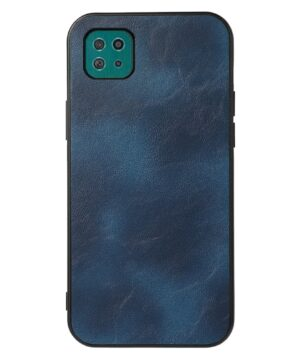 Силиконов калъф гръб с кожа Samsung Galaxy A22 5G - син