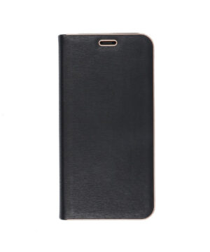 Кожен калъф тефтер / Luna book gold / Samsung Galaxy A7 2018 - черен
