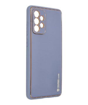 Силиконов гръб с кожа Leather Case Samsung Galaxy A72 / A72 5G - син