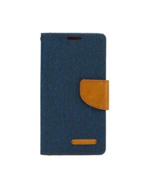 Кожен калъф тефтер / Canvas book / Samsung Galaxy S20 FE - син