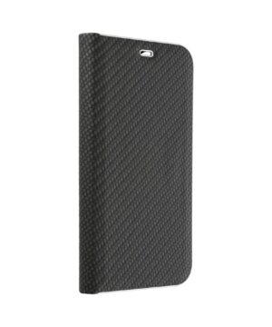 Кожен калъф тефтер / Luna book carbon / Samsung Galaxy S20 FE - черен
