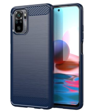 Силиконов калъф гръб Carbon Case Xiaomi Redmi Note 10 - син